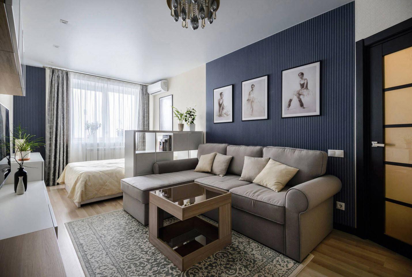 Дизайн комнаты кровать и диван картинки