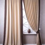 бежево-коричневые двухцветные шторы