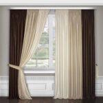 бело-бежево-коричневые шторы