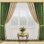 бежево-зеленые двухцветные шторы