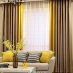 желто-бежевые двухцветные шторы