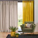 серо-желтые двухцветные шторы