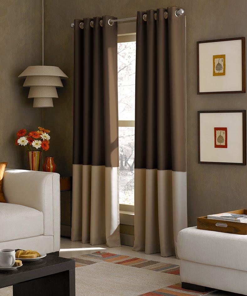 двухцветные коричневые шторы