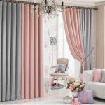серо-розовые двухцветные шторы