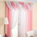 бело-розовые двухцветные шторы