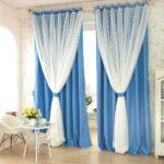 бело-голубые двухцветные шторы