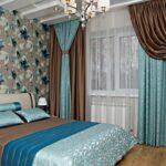 бирюзово-бежевые двухцветные шторы