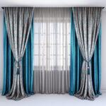 бирюзовго-серые двухцветные шторы