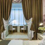 бело-оливковые двухцветные шторы