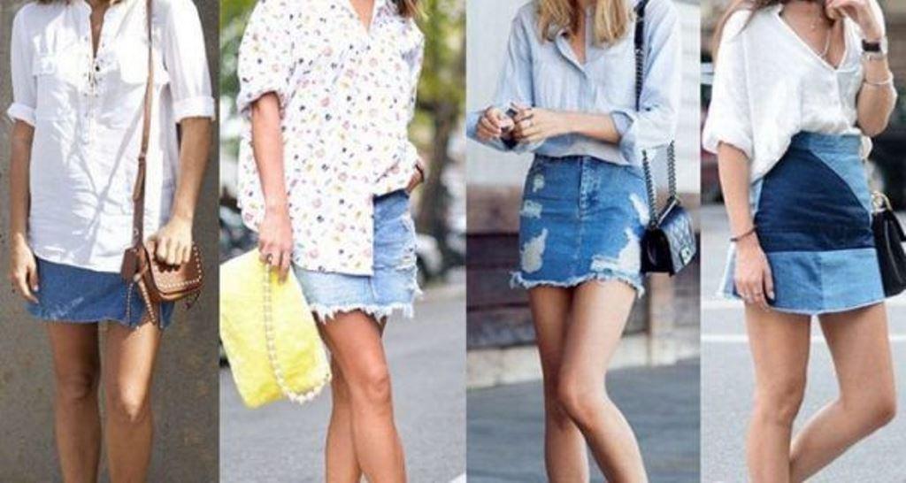 юбка из джинсов прямая
