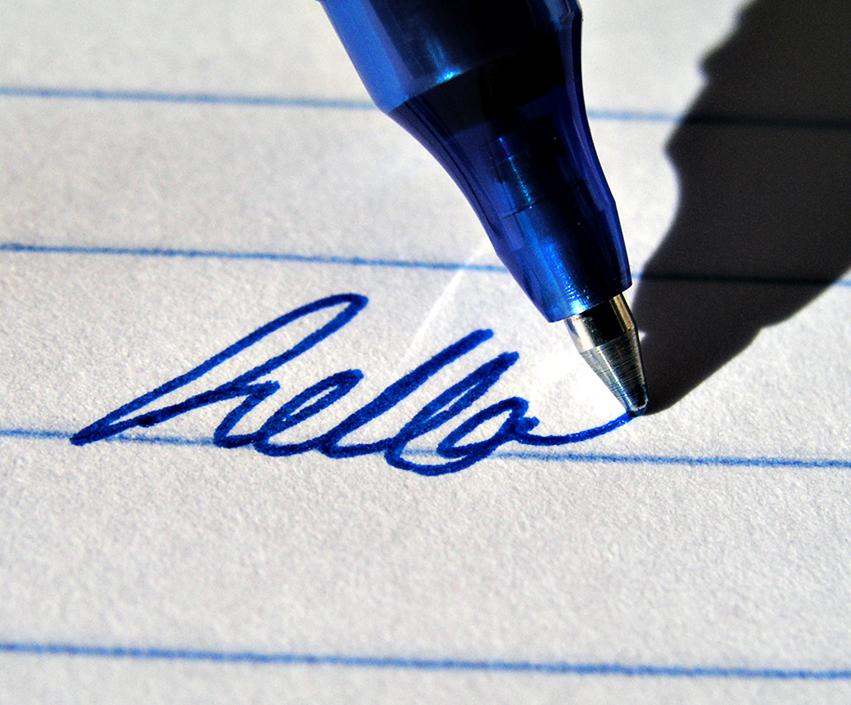 гелевая ручка на бумаге