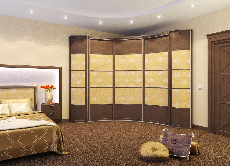 радиусный шкаф в спальне