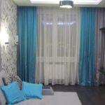 голубые шторы в зал