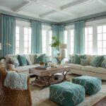 голубые шторы для больших окон