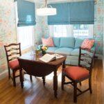 римские голубые шторы на кухню