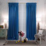однотонные голубые шторы