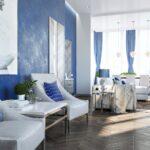 голубые шторы для просторного зала