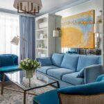 голубые шторы в современном дизайне