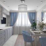 голубые шторы с белой кухне