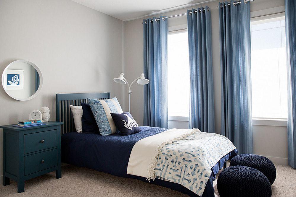 голубые шторы для спальни