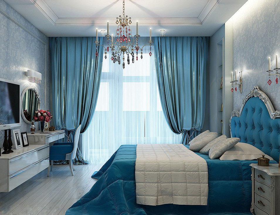 голубые шторы в спальне