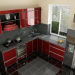 кухня маленькая бордовая