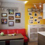кухня маленькая с красным диваном