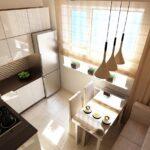 кухня маленькая с низкими лампами
