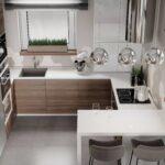 кухня маленькая с круглыми лампами