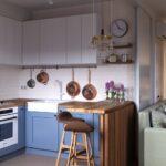 кухня маленькая синяя