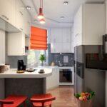 кухня маленькая с оранжевыми шторами