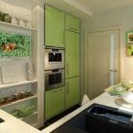кухня маленькая с зелеными шкафами