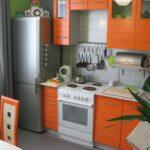 кухня маленькая оранжевая