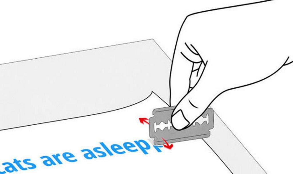 удалить ручку с бумаги лезвием