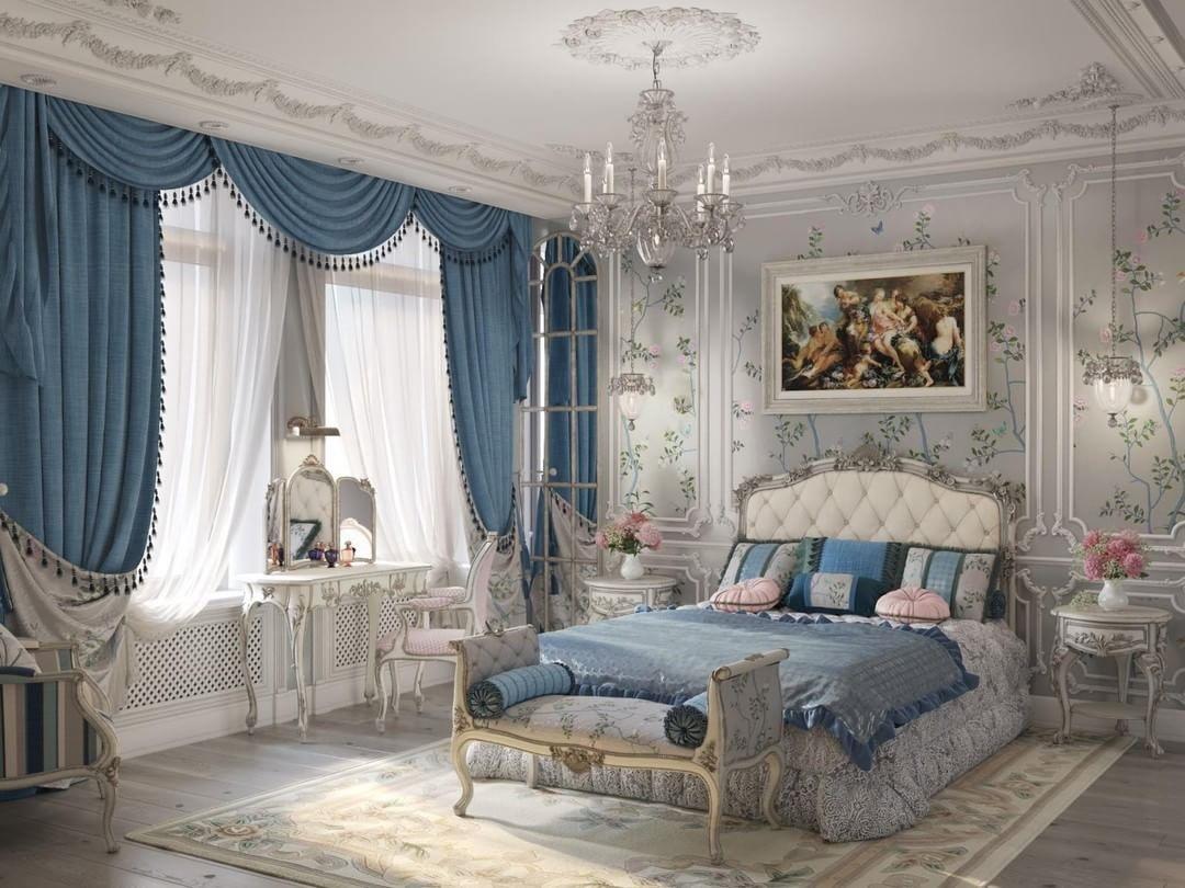 шторы барокко в спальню