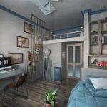 комната для мальчиков голубая