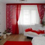 красные шторы декор