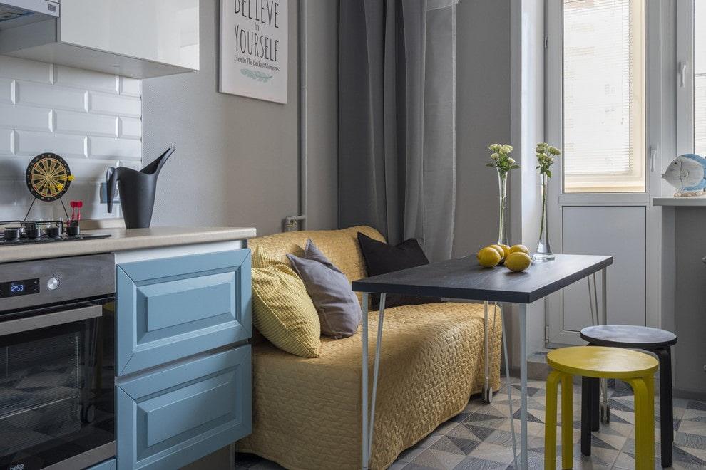 кухня 6 кв м с диваном