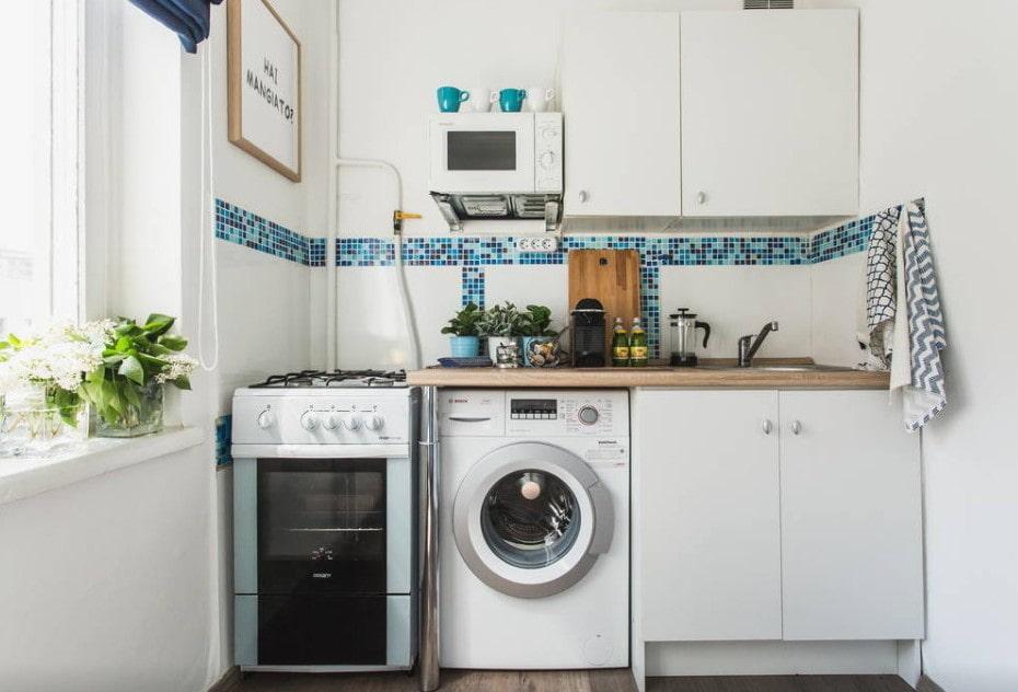 кухня 6 кв м со стиральной машиной