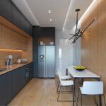кухонный гарнитур в узкой кухне