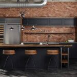 минималистичный кухонный гарнитур в лофте