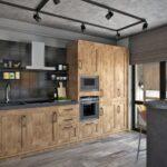 строгий деревянный кухонный гарнитур