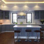 синий кухонный гарнитур с островом