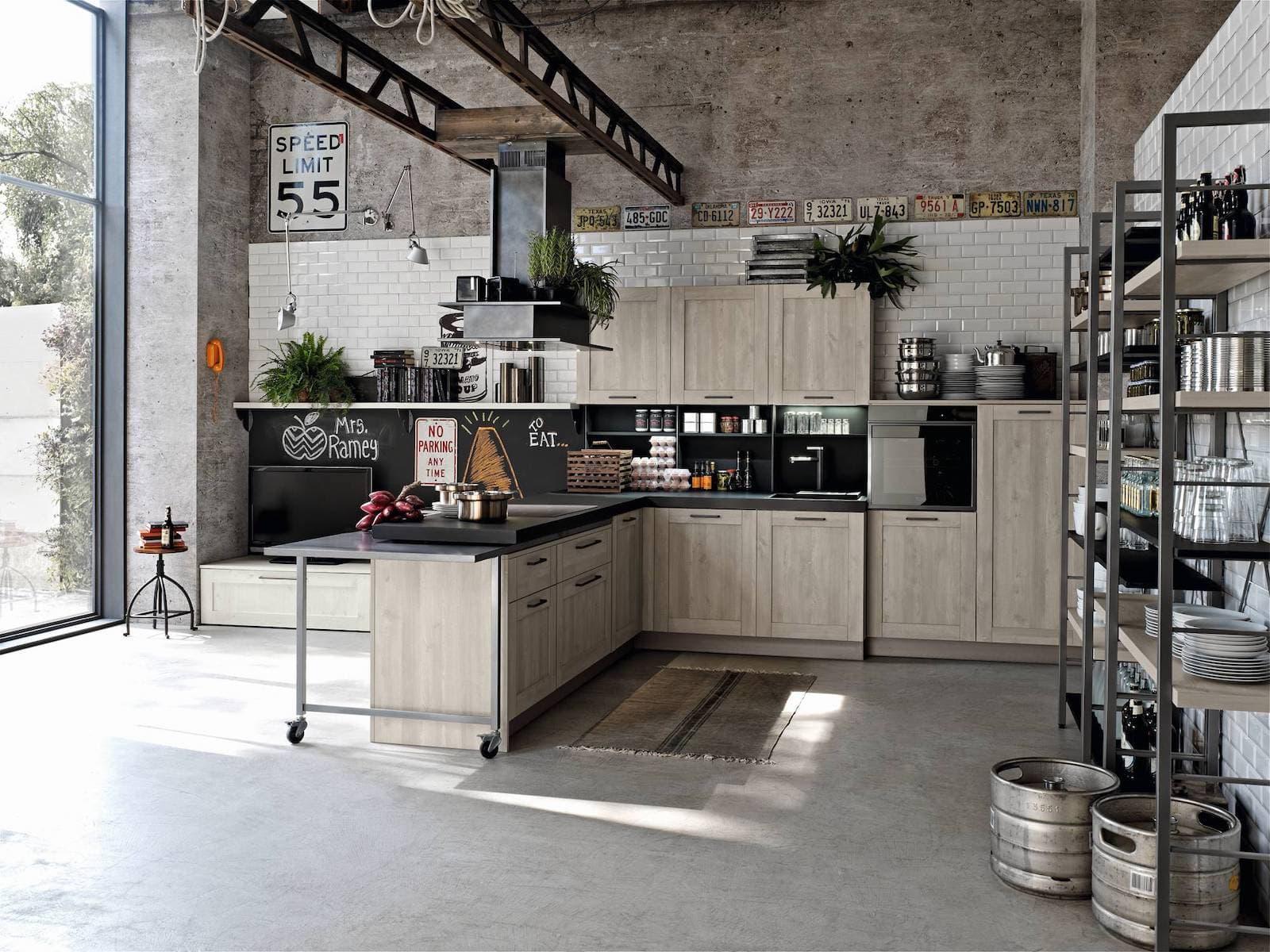 кухонный гарнитур в стиле лофт плюсы