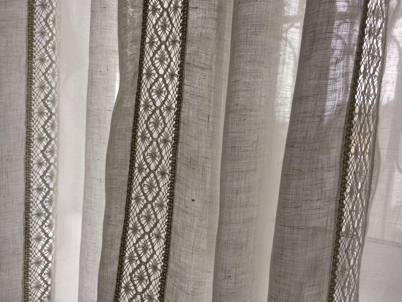 Льняные шторы с мережкой