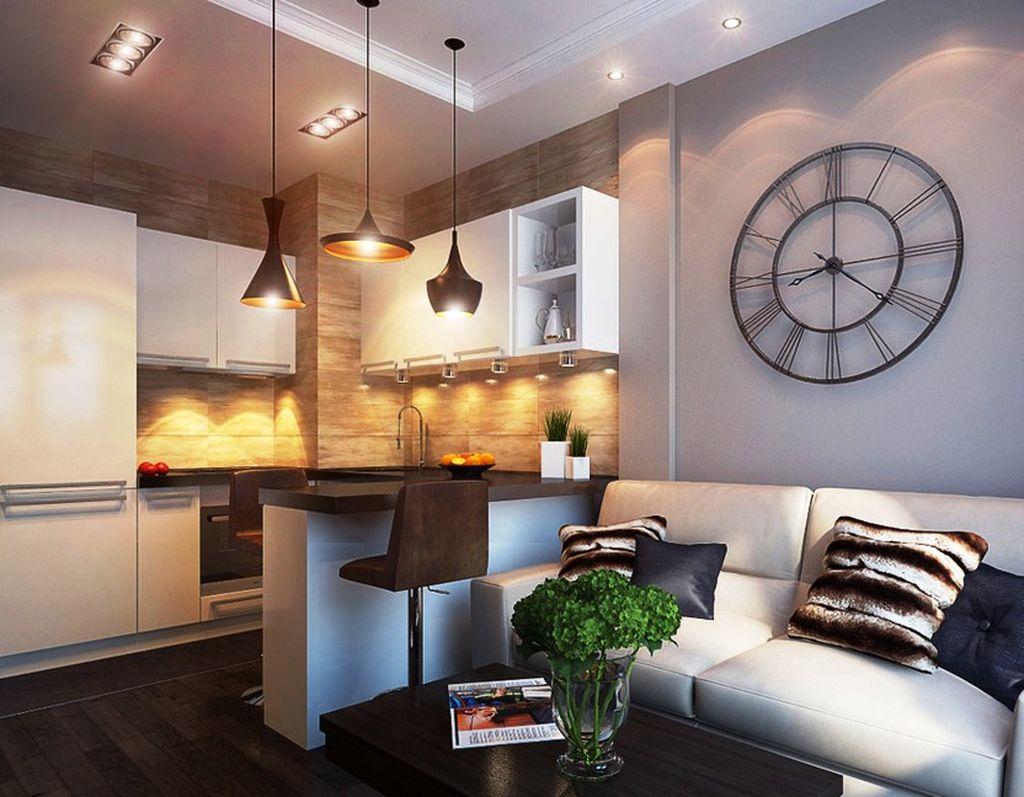 маленькая гостиная кухня