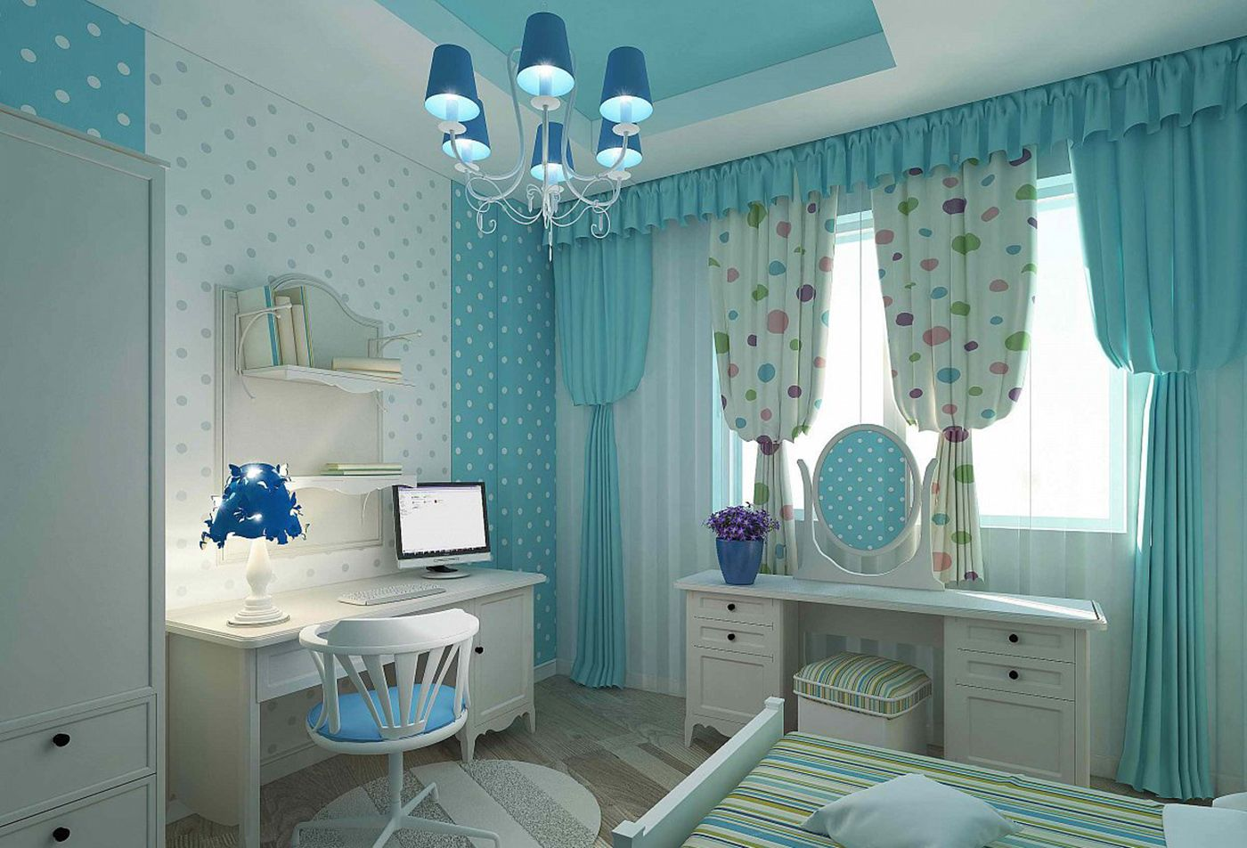 материалы голубых штор для детской