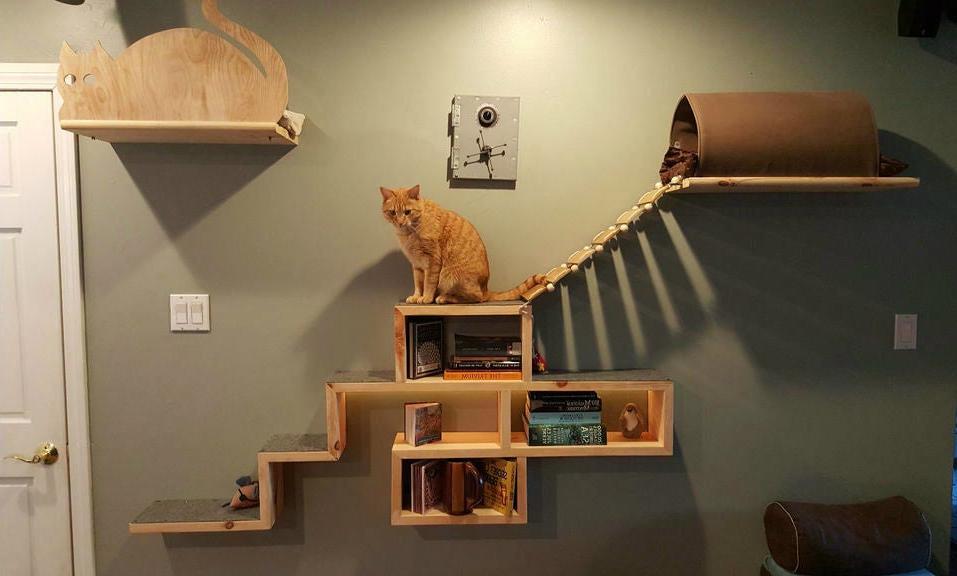 настенные полки для кошек фото дизайн