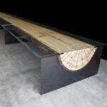 стол из дерева бревно со стеклом по бокам