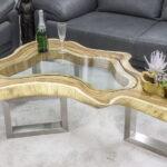стол из дерева фигурный со стеклом